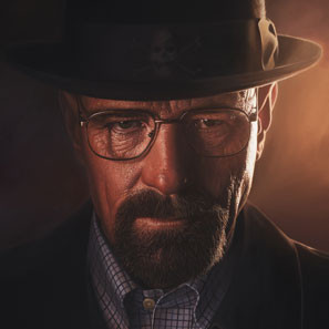 Portrait painting of Breaking Bad's Walter White