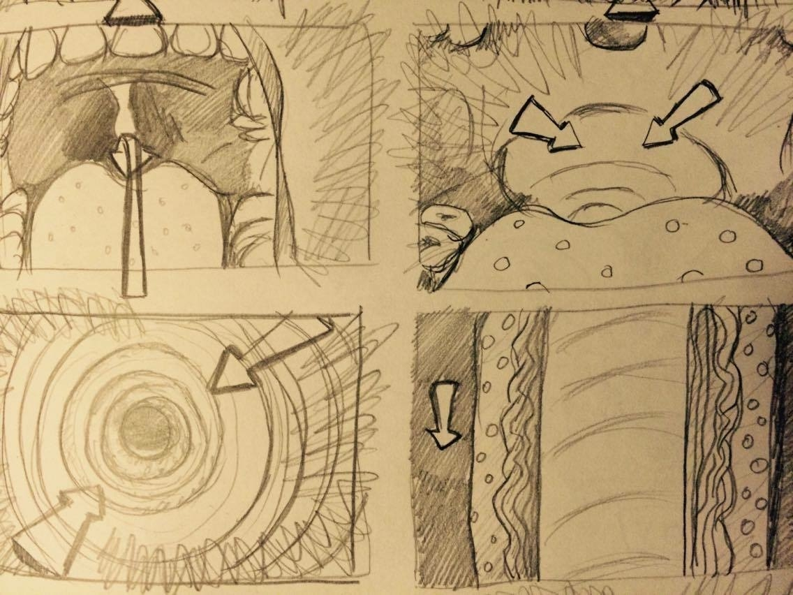 Some of the storyboards created by animator Chris Younes for the drug trip sequence in the movie. 1 of 4