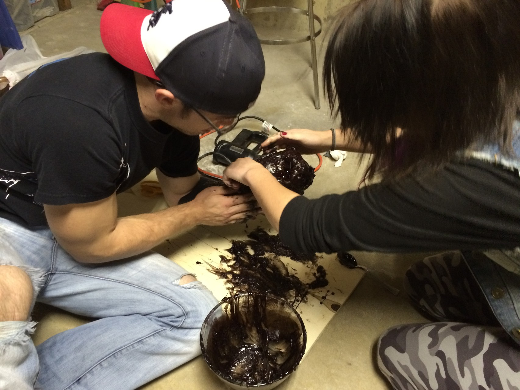 FX Supervisor Jason Kain and Rhiann Owen work on creating The Muck.