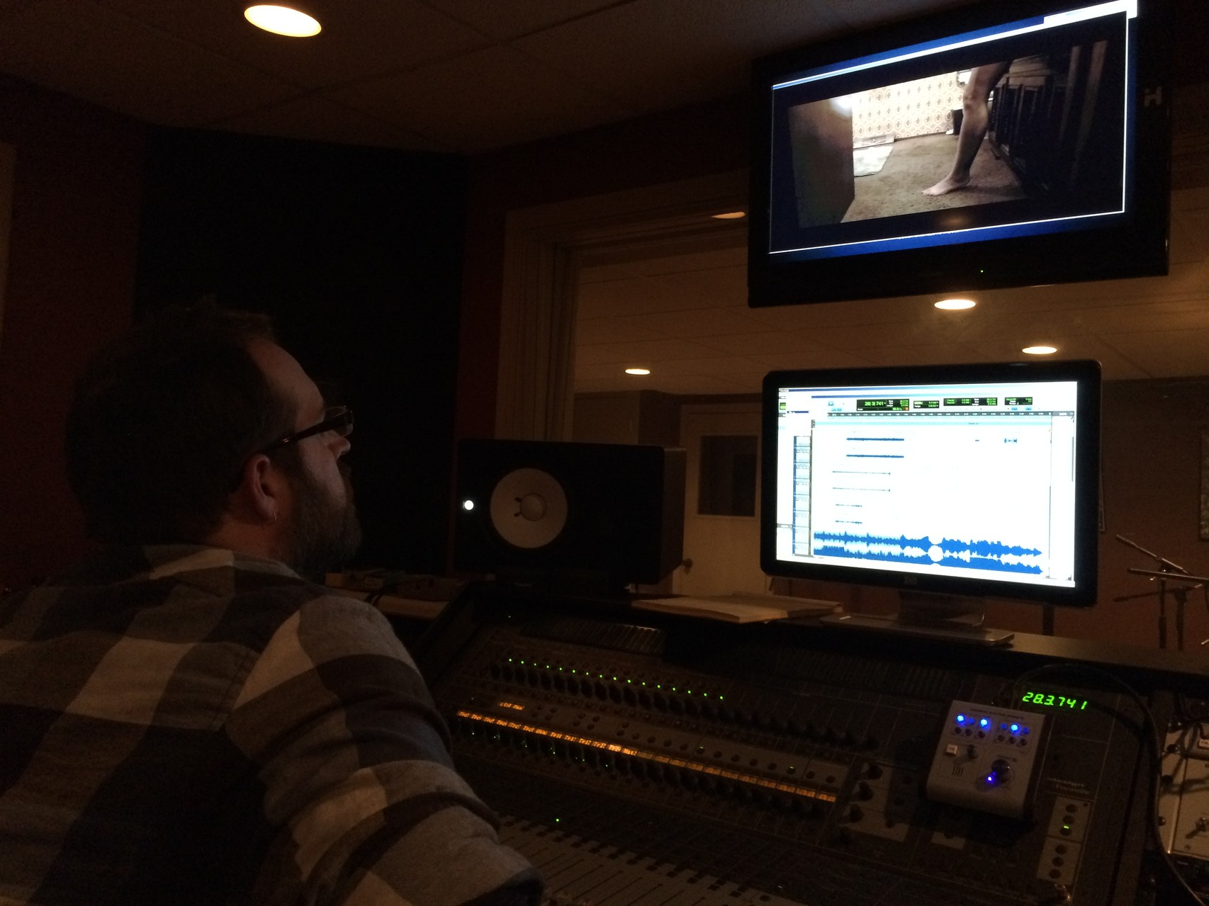 Shea Villwock working on the sound mix.