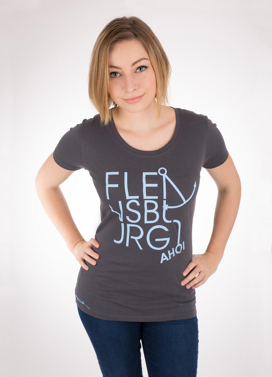 Shirt aus Biobaumwolle / Print: Flensburg-Cut-Ahoi in hellblau / 29,90€