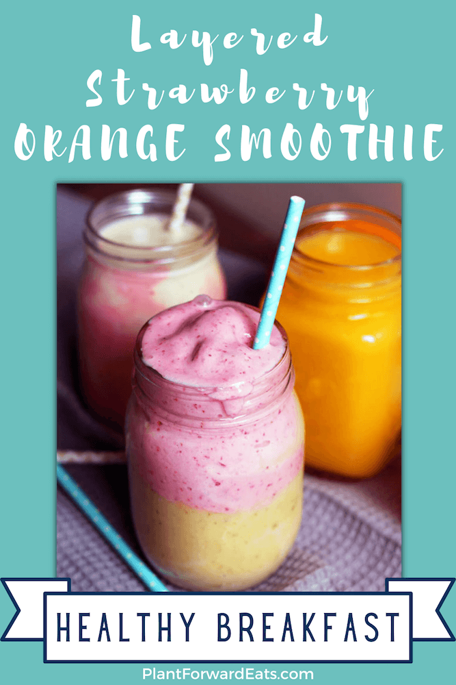 Love orange juice recipes and layered smoothies? Whip up this Orange Strawberry Smoothie for a healthy breakfast. #nationalOJday #FLOJ #layeredsmoothie #smoothie #breakfast #orangejuice #smoothierecipe #healthyrecipes #juicerecipes