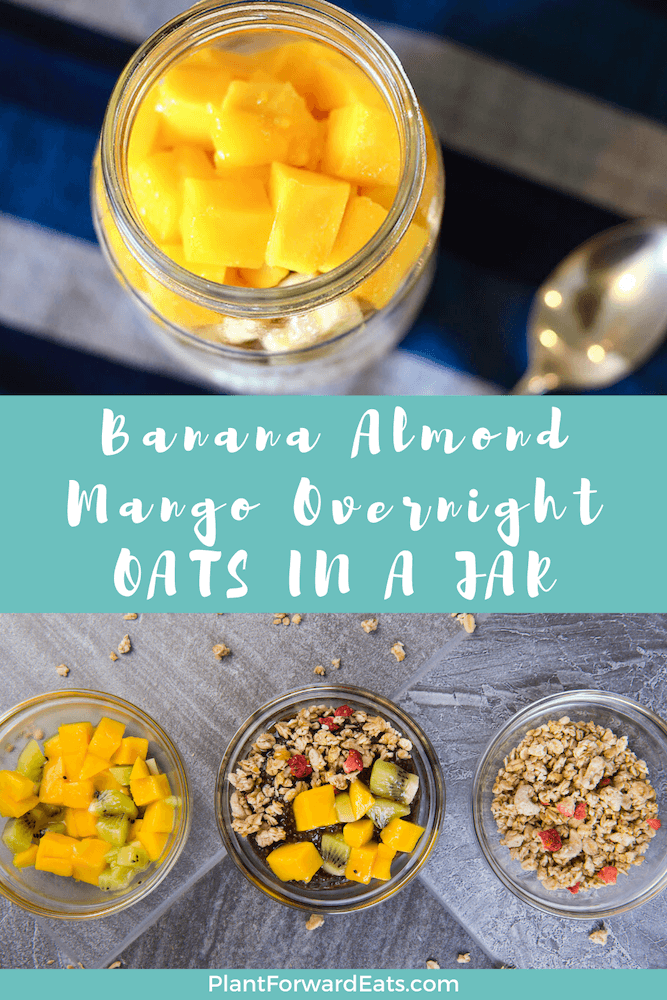 Looking for the perfect mango overnight oats in a jar recipe? Look no further than these mango banana overnight oats. This make-ahead oatmeal is oh-so satisfying! Enjoy this overnight oats recipe! #overnightoats #oatmealrecipes #quakeroats #mangorecipes