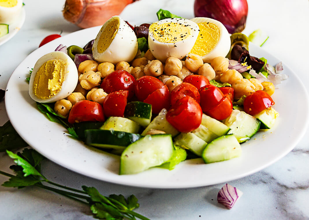 Vegetarian Chopped Salad Recipe with Hard-Boiled Eggs