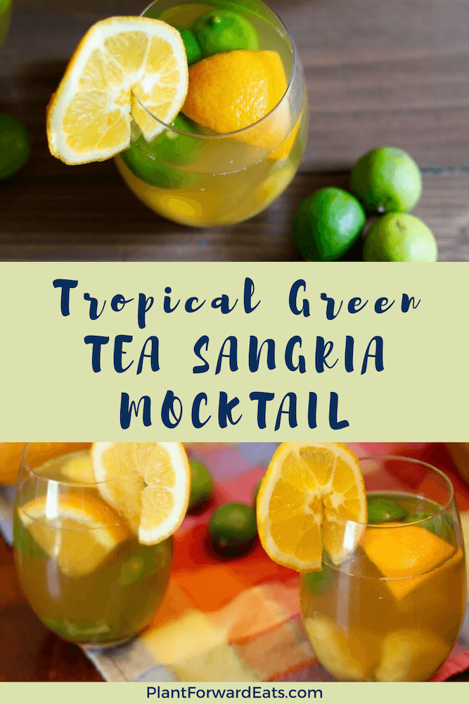 Ready for a non-alcoholic sangria recipe? This Tropical Green Tea Sangria Mocktail is it! This sangria mocktail recipe will quickly become one of your favorite virgin cocktail recipes! #virgincocktail #mocktail #sangria #greentearecipes #lipton