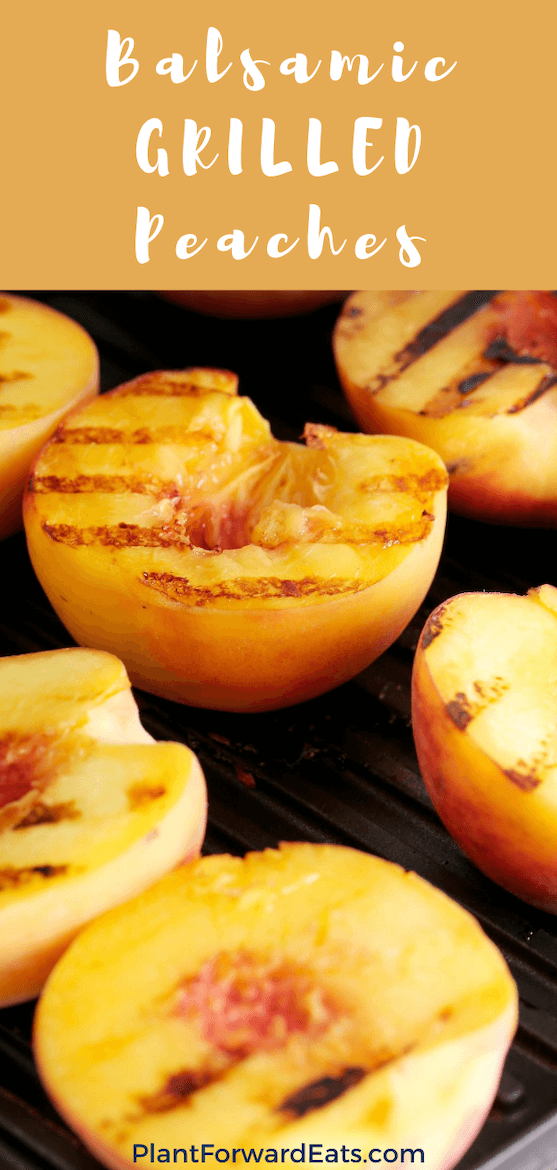 Make these balsamic grilled peaches, then use these healthy picnic food ideas for the perfect summer meal. These balsamic peaches make the perfect vegetarian picnic food. #peaches #picnic #grilledfood #summerfoodideas #vegetarian