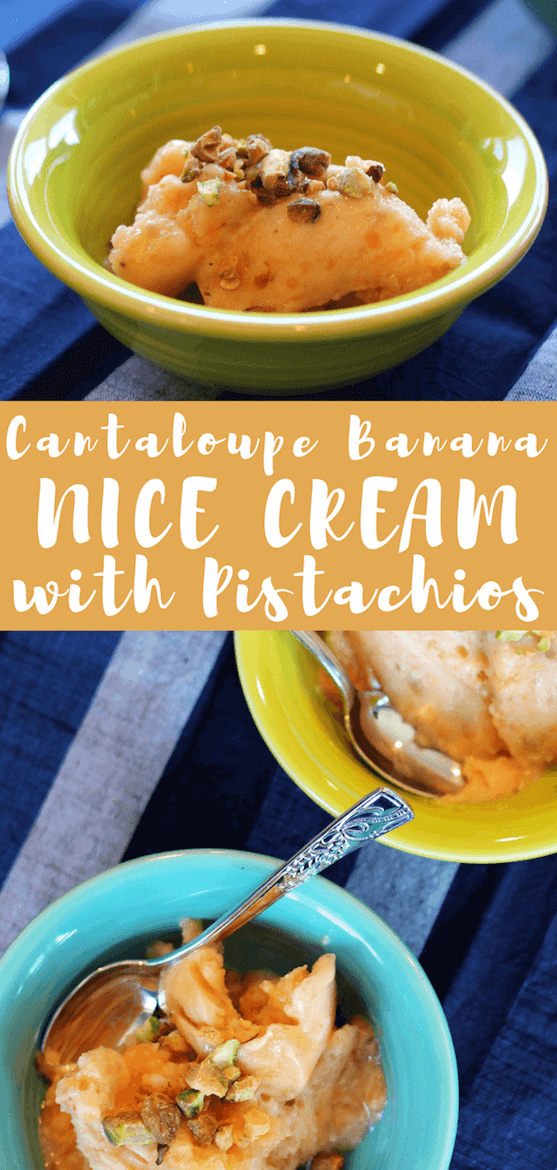 Cut out the added sugar with Cantaloupe Banana Nice Cream with Pistachios for a healthier dessert! The sweet treat is just as creamy as real ice cream. #nicecream #healthydessertideas #mealprep101 #sweettreats #frozensummertreats #cantaloupe #icecream