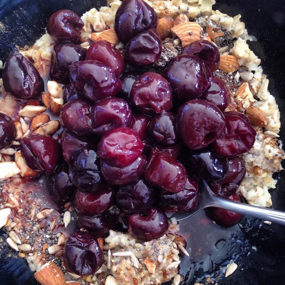 Microwave Cherry Oatmeal Bowl