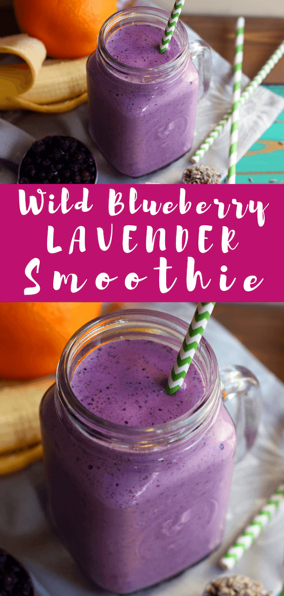 Looking for a lavender smoothie recipe? How about a wild blueberry smoothie recipe? This plant based recipe is the way to destress yourself. #smoothie #smoothierecipe #wildblueberries #lavender #lavenderrecipe #floralrecipe #blueberries #plantbased