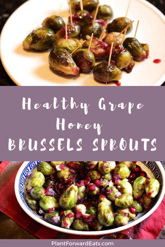 Want an easy healthy recipe? This Brussels Sprouts with Grape Honey Glaze is low carb and one of the best vegetarian side dishes!