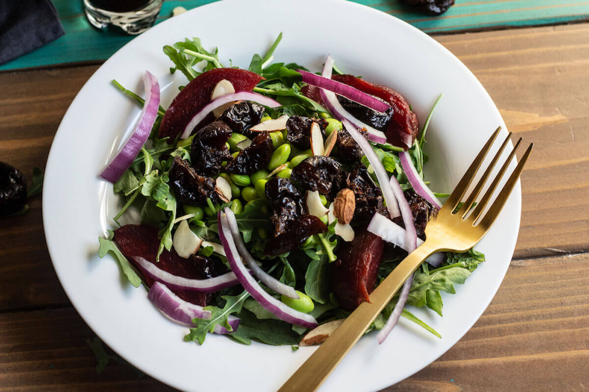 Vegan Mediterranean Vegetable Salad with Prunes & Fruit Dressing