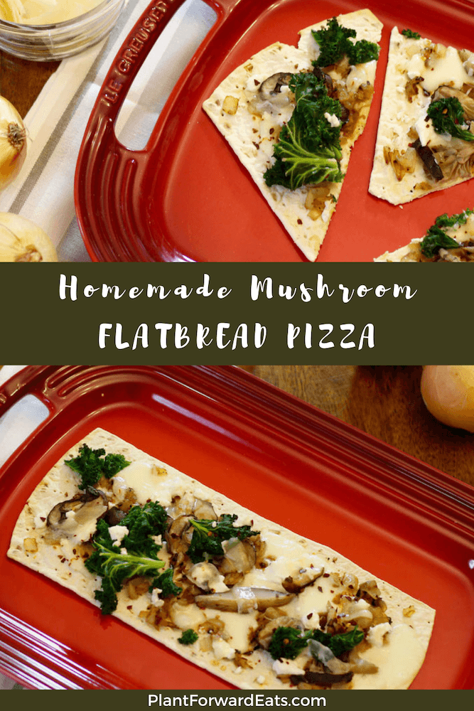 Want an easy party appetizer? Try this healthy flatbread pizza recipe. This homemade vegetarian Cheesy Wild Mushroom & Caramelized Onion Pizza is full of veggies and sure to delight! #plantbased #appetizerrecipes #vegetarian #partyfood #healthyrecipes