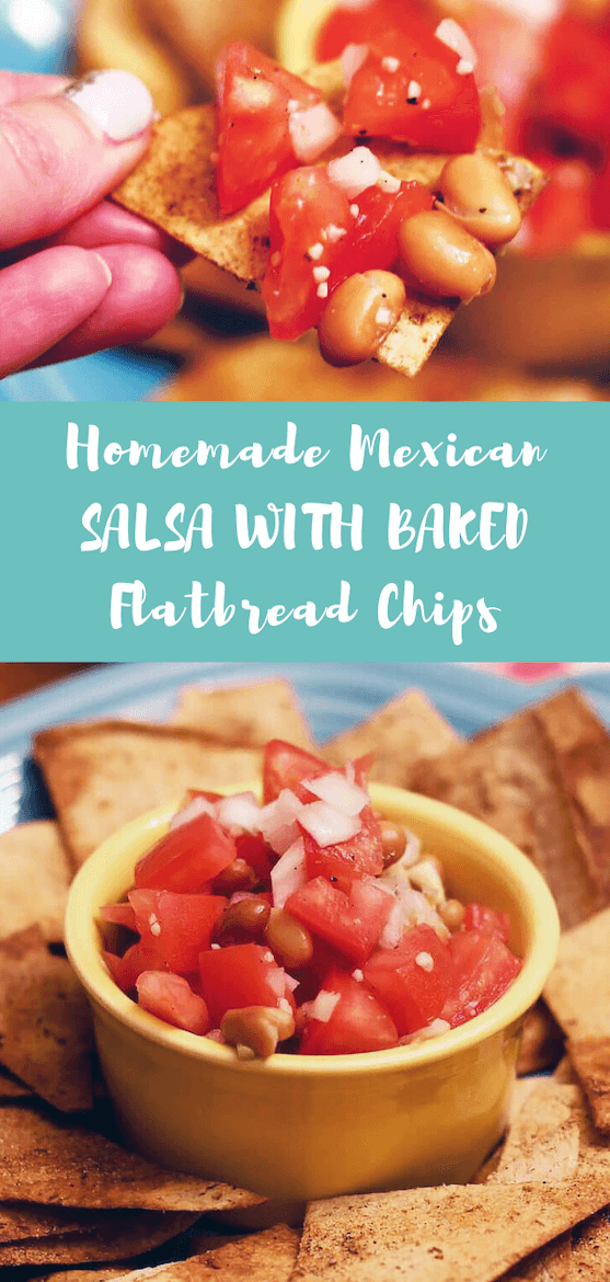 This homemade salsa recipe will quickly become one of your fave Mexican food recipes. Looking for flatbread recipes, too? This healthy chips and salsa is delish. #chipsandsalsa #salsa #flatbread #healthymexican #tomatorecipes