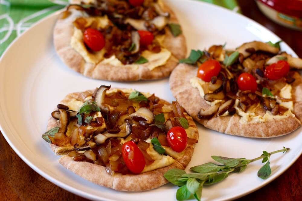 Vegan Hummus Pizza with Mushrooms & Onion
