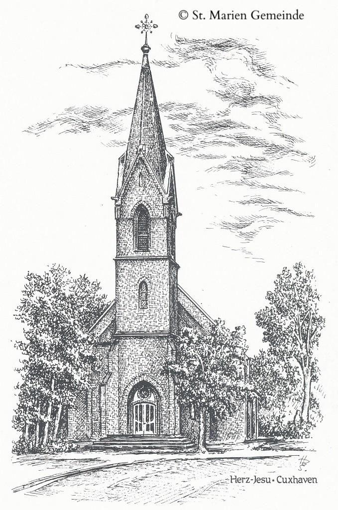 Schwarz / Weiß Stich der Herz-Jesu Kirche