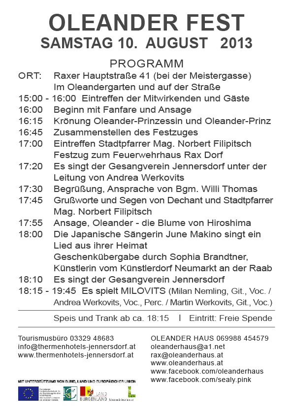 Oleander Fest 2013 Programm