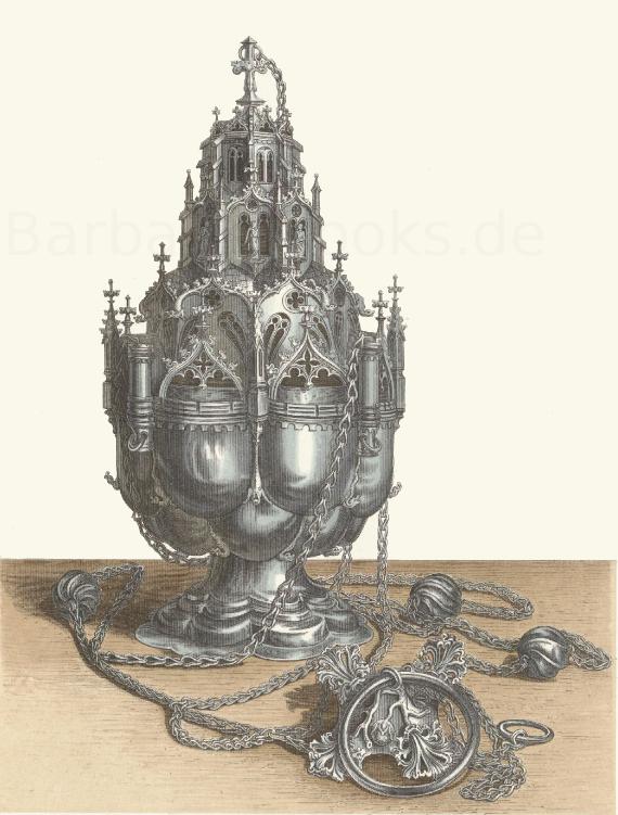 Rauchfass aus Silber, in der Kirche des Augustinerklosters zu Würzburg.