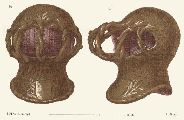 Turnierhelm aus dem 15. Jahrhundert im Besitz S. K. Es.