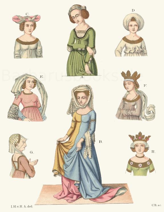 Frauentrachten aus dem 15. Jahrhundert.