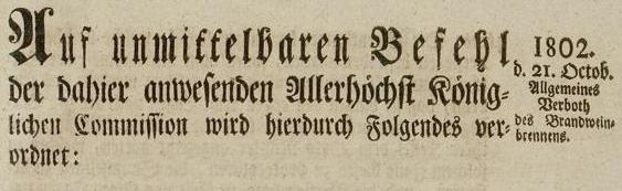 Gesetz gegen das Branntweinbrennen in Münster zur Sicherung der Grundversorgung der Bevölkerung - Titel