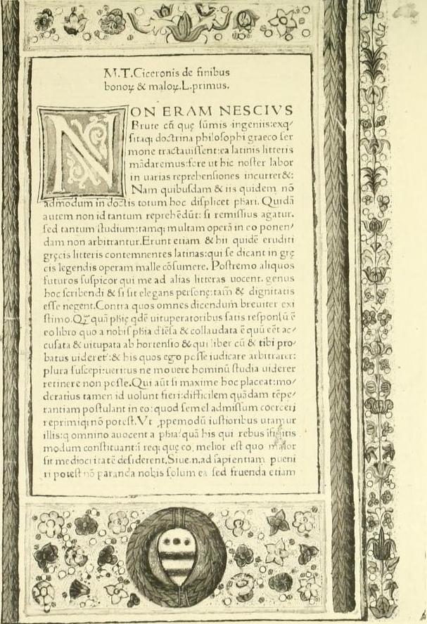 Cicero. De finibus. Venetiis 1471.