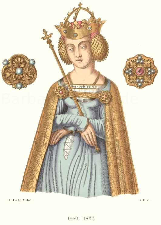 Frauentracht aus dem 15. Jahrhundert nach der Figur eines Gemäldes auf einem Seitenaltar in der Frauenkirche zu Oberwesel am Rhein.
