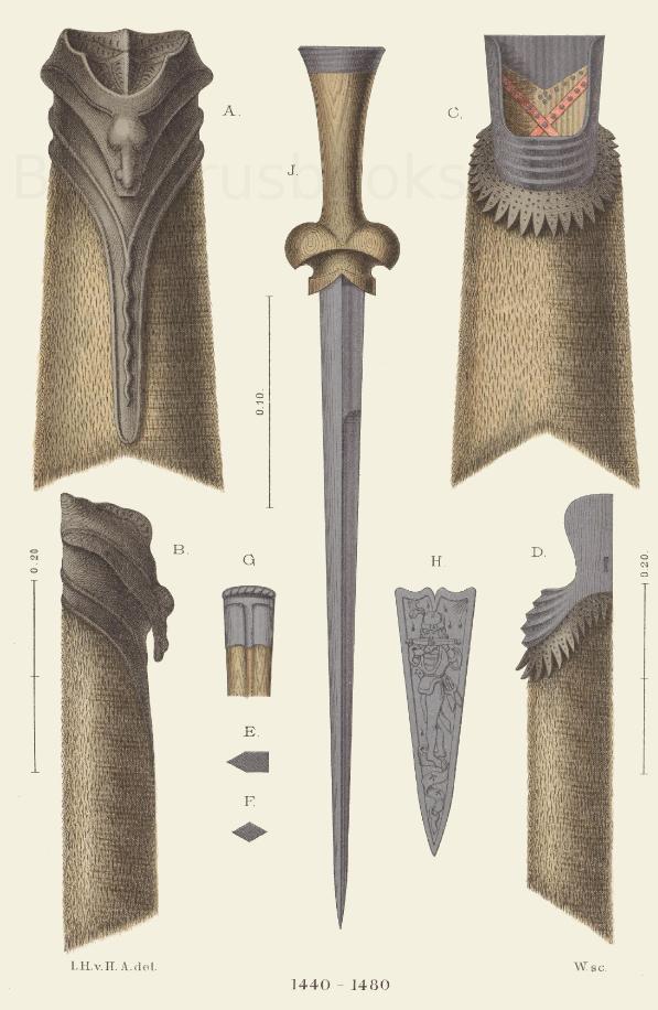 Köcher und Jagdmesser aus der Köcher und Jagdmesser aus der Mitte des 15. Jahrhunderts. Mitte des 15. Jahrhunderts.