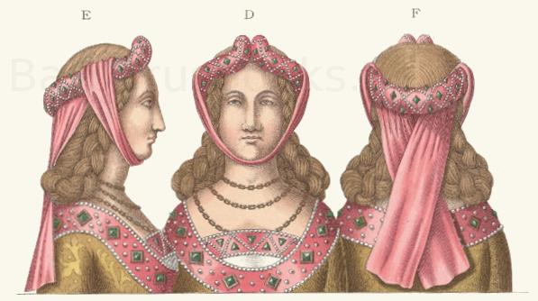 Frauenkopfputz aus dem 15. Jahrhundert.