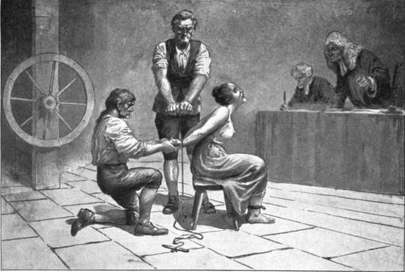 Das Verhör bei einem Hexenprozess samt Folter