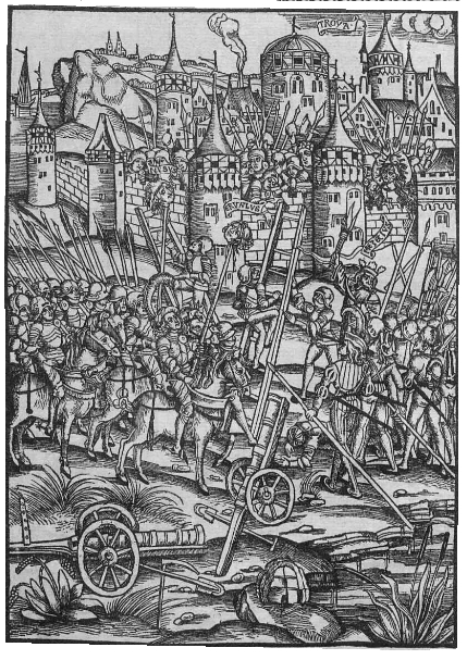 Belagerung einer Stadt im 15. Jahrhundert. Holzschnitt aus Vergil, Straßburg, Grieninger, 1502.