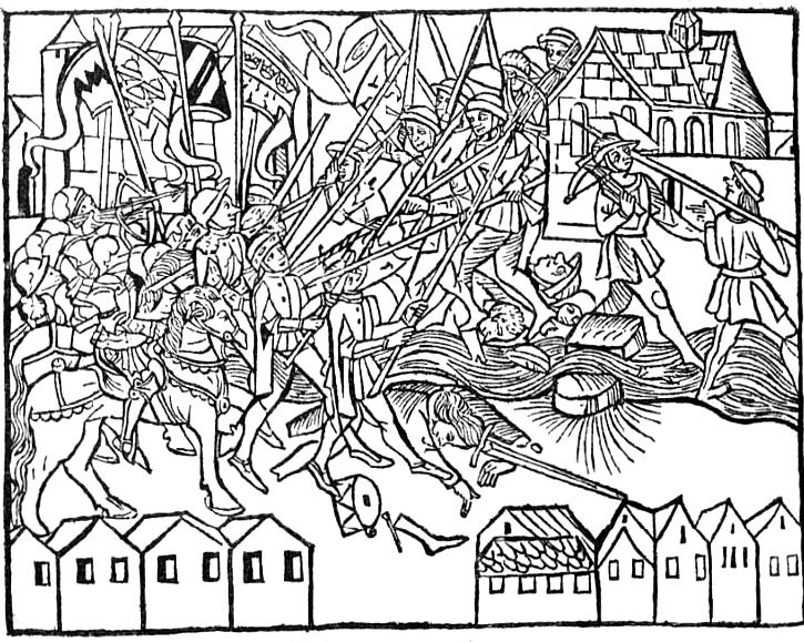 Straßenkampf im 15. Jahrhundert. Holzschnitt aus Chronik von Köln. Köln, Kovelhoff, 1499.