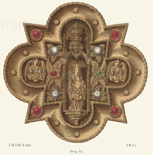Agraffe aus der Mitte des 15. Jahrhunderts, nach dem, im großherzoglichen Museum zu Darmstadt befindlichen Original