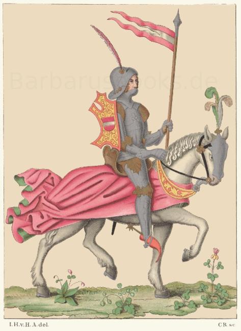 Ritterliche Tracht aus dem 15. Jahrhundert, nach dem Blatt eines sogenannten Schachzabelbuches, in dichterischer Bearbeitung von Konrad von Ammenhusen.