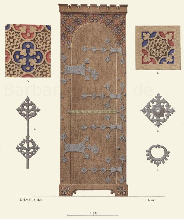 Schrein aus dunkelbraunem Holz aus der zweiten Hälfte des 15. Jahrhunderts.