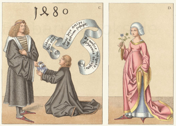 Unterschuhe und Trachten aus dem 15. Jahrhundert.