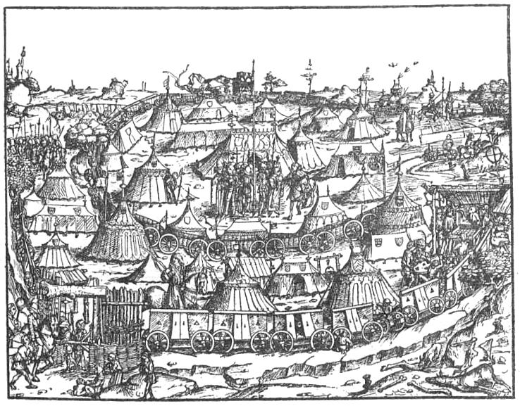 Mittelalterliche Wagenburg. Federzeichnung aus dem Hausbuch des Fürsten Waldburg-Wolfegg.