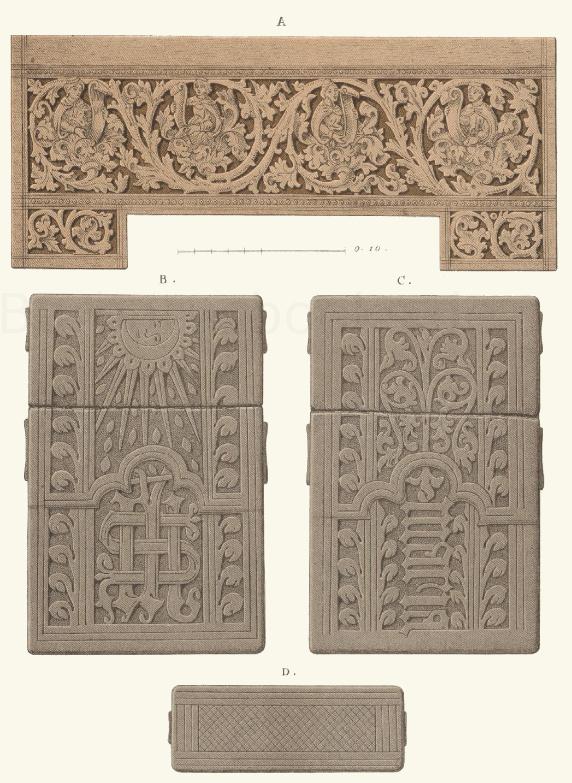 Ornamentierte Arbeiten in Holz und Leder aus dem 15. Jahrhundert.