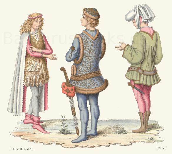 Trachten aus der Mitte oder der 2. Hälfte des 15. Jahrhunderts.