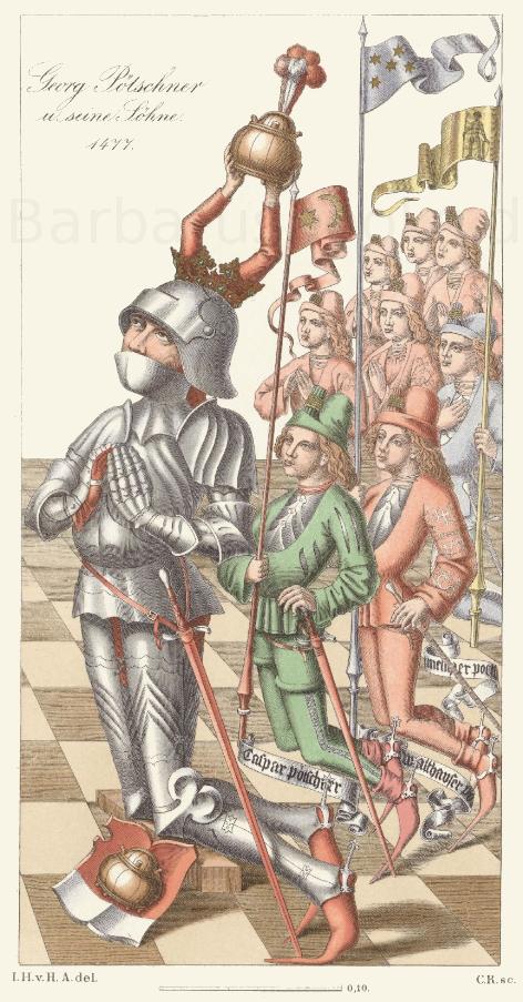Bildnisse der Münchner Patrizierfamilie Pötschner vom Jahr 1477.