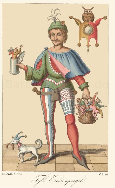 Historische Zeichnung Bildnis von Till Eulenspiegel Mittelalter