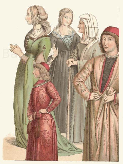 Italienische Tracht aus dem 15. Jahrhundert, nach einer Gruppe der Freskogemälde von Pinturicchio, in einer der Seitenkapellen der Kirche St. Maria Araceli zu Rom.