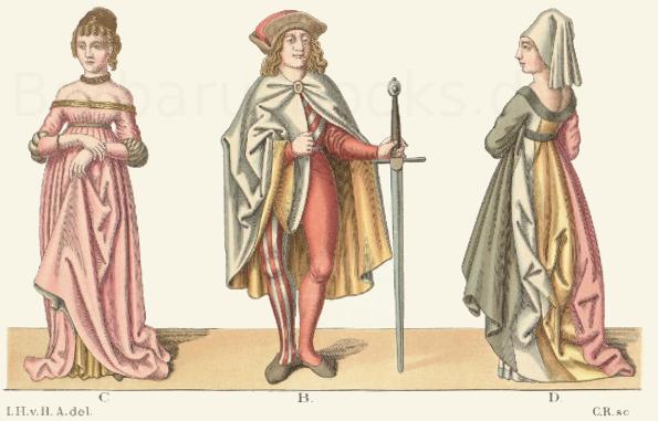 Trachten aus der Mitte des 15. Jahrhunderts, nach kolorierten Federzeichnungen.