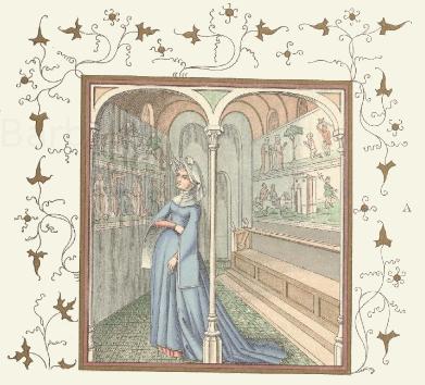 Französische Frauentrachten aus dem 15. Jahrhundert nach Miniaturgemälden eines Pergament-Kodex