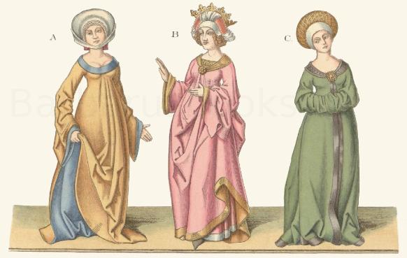 Frauentracht aus dem 15. Jahrhundert nach Figuren eines Stammbuches der Herzöge von Sachsen.