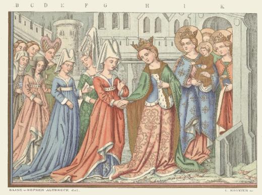 Französische Frauentrachten aus dem 15. Jahrhundert nach Miniaturgemälden eines Pergament-Kodex.
