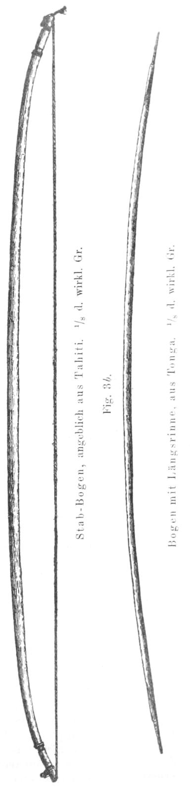Links ein Stabbogen, rechts ein Bogen mit Längsrinne.