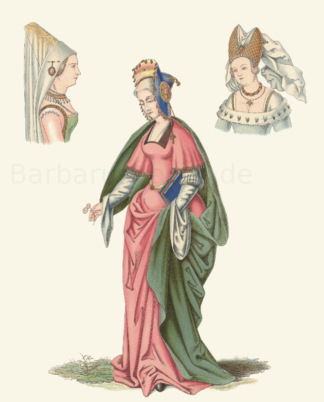 Frauentracht aus der zweiten Hälfte des 15. Jahrhunderts, nach einem Gemälde.