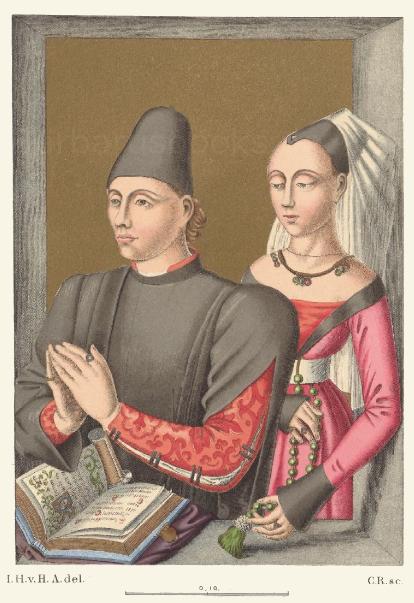 Trachten aus der Mitte des 15. Jahrhunderts, nach einem Ölgemälde.