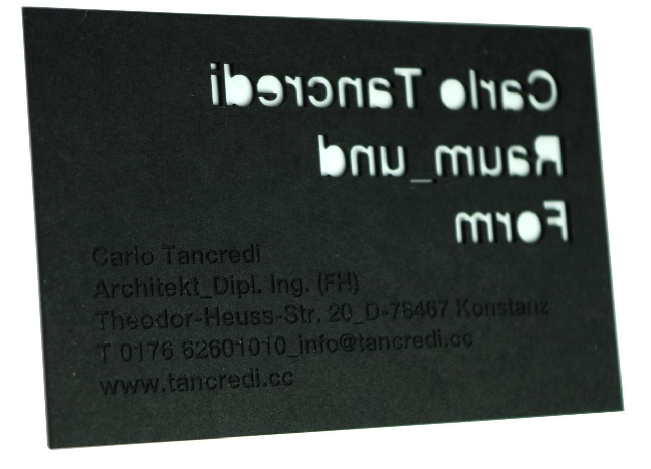 Besondere Visitenkarten Exklusiver Shop Biasto Laserdesign