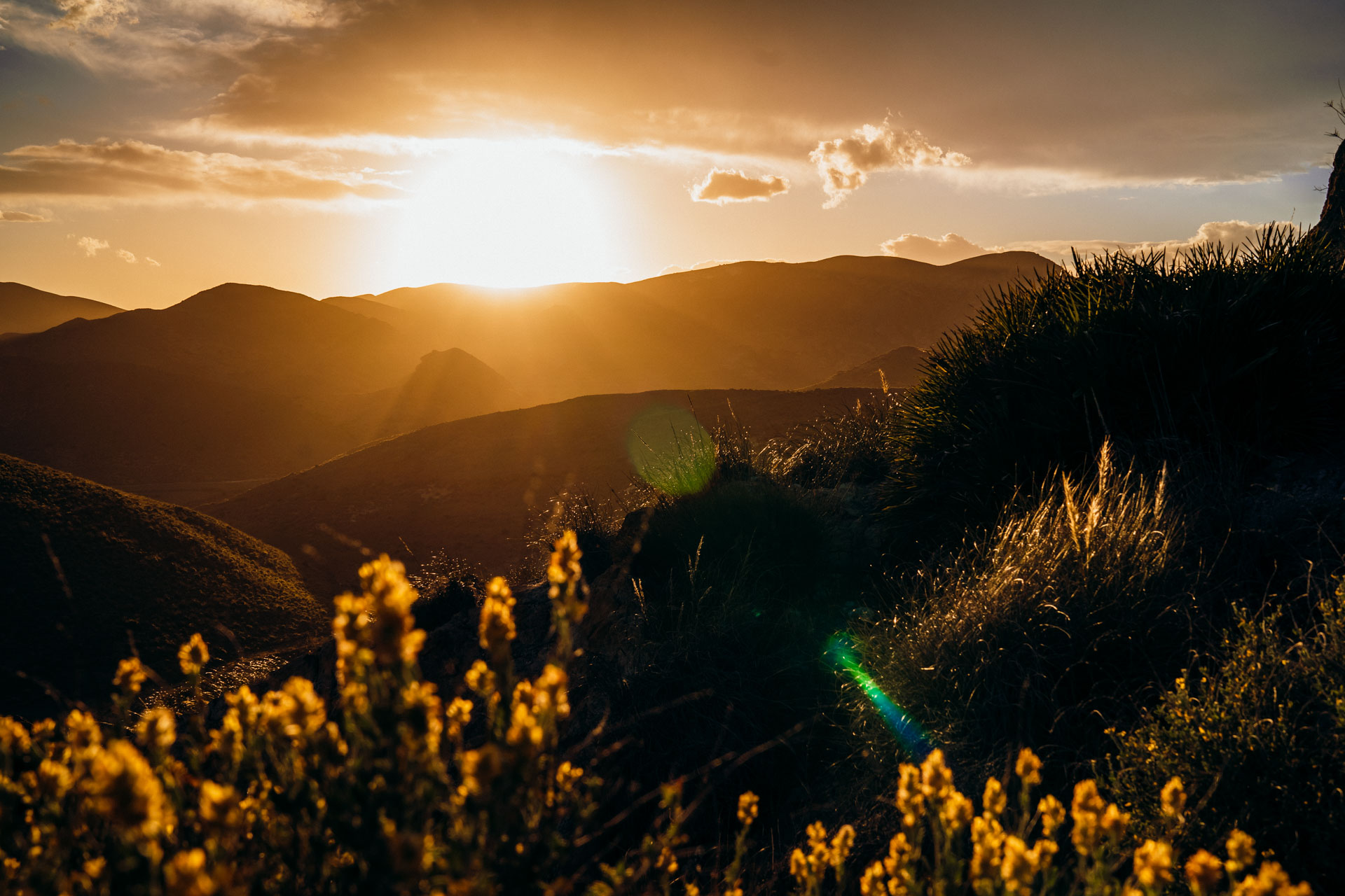 Spanien Sonnenuntergang Las Negras San Pedro Berge